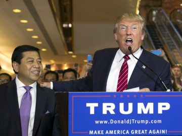U.S. presidential hopeful Donald Trump (R) stands with Setya Novanto, Speaker of the House of Representatives of Indonesia, following a press availability after signing a pledge with the Republican National Committee (RNC) at Trump Tower in Manhattan, New York September 3, 2015. Republican front-runner Donald Trump on Thursday bowed to pressure from the party establishment and signed a pledge not to run as an independent candidate in the November 2016 presidential election.  REUTERS/Lucas Jackson
