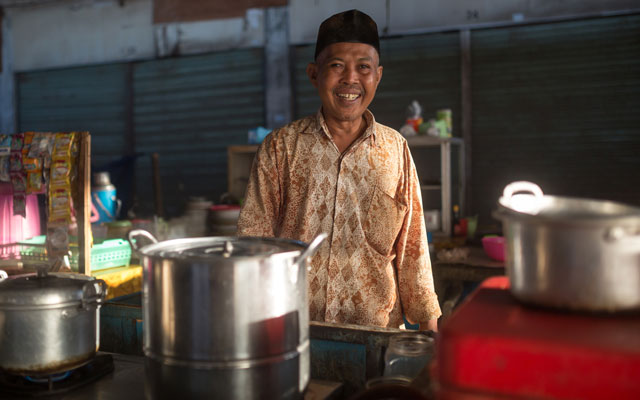 Funds will go a long way in helping to support small business owners, such as this food vendor in Lombok
