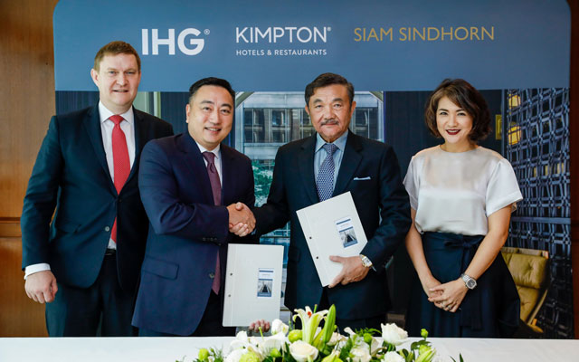 From left: IHG's Kenneth Macpherson and Clarence Tan; and Siam Sindhorn's Chalaluck Bunnag and Chonpreya Pacharaswate